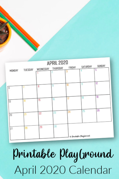 April 2020 calendar printable shop image