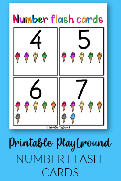 Number flash cards for preschool numbers 0 to 10