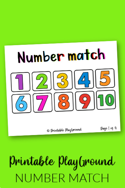 Number match activity for preschool numbers 1 to 10