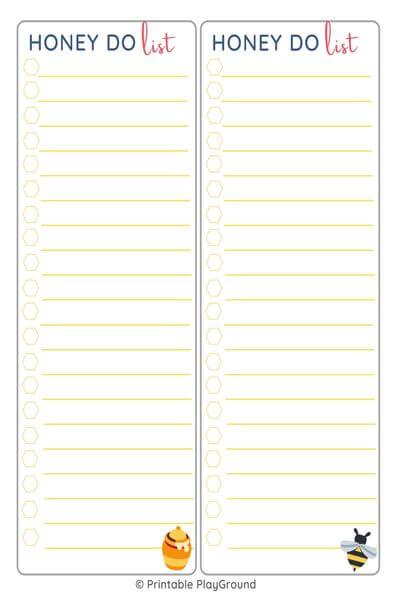 Honey do list - two columns