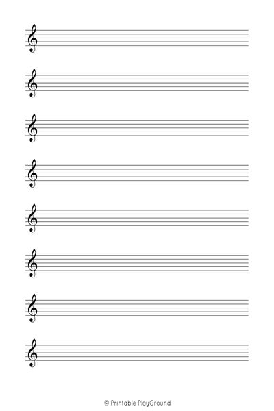 Letter - 1 Staff 8 Clef Music Sheet - Printable PlayGround